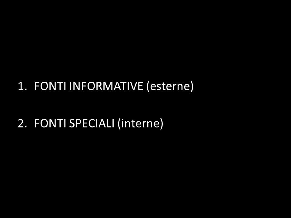 1.FONTI INFORMATIVE (esterne) 2.FONTI SPECIALI (interne)