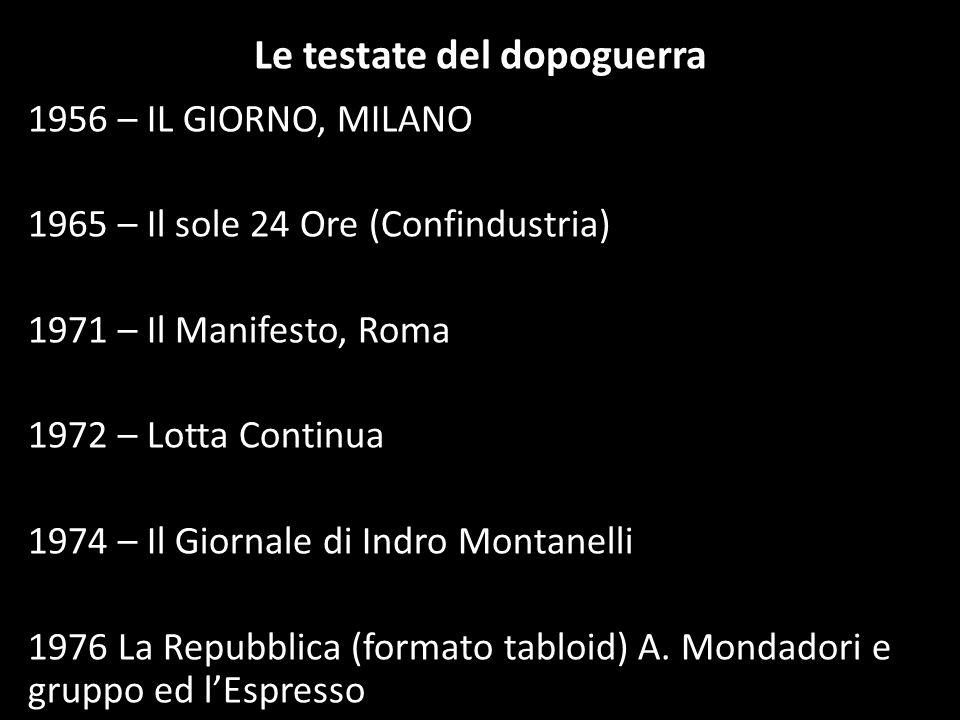 Le testate del dopoguerra 1956 – IL GIORNO, MILANO 1965 – Il sole 24 Ore (Confindustria) 1971 – Il Manifesto, Roma 1972 – Lotta Continua 1974 – Il Gio