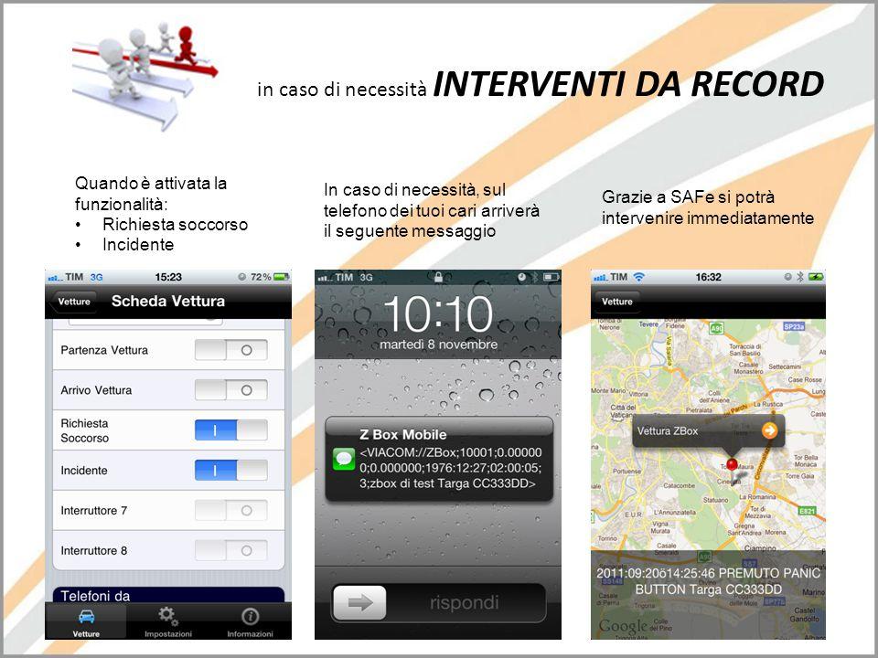 in caso di necessità INTERVENTI DA RECORD Quando è attivata la funzionalità: •Richiesta soccorso •Incidente In caso di necessità, sul telefono dei tuo
