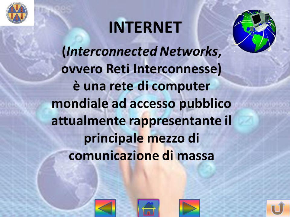 INTERNET (Interconnected Networks, ovvero Reti Interconnesse) è una rete di computer mondiale ad accesso pubblico attualmente rappresentante il princi
