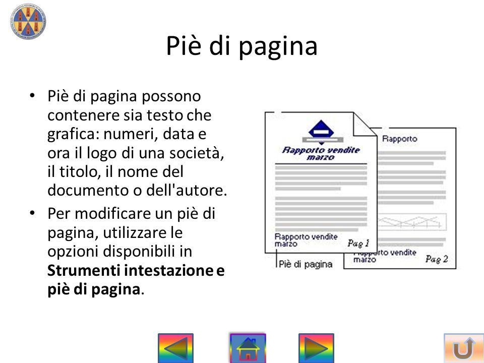 Piè di pagina • Piè di pagina possono contenere sia testo che grafica: numeri, data e ora il logo di una società, il titolo, il nome del documento o d