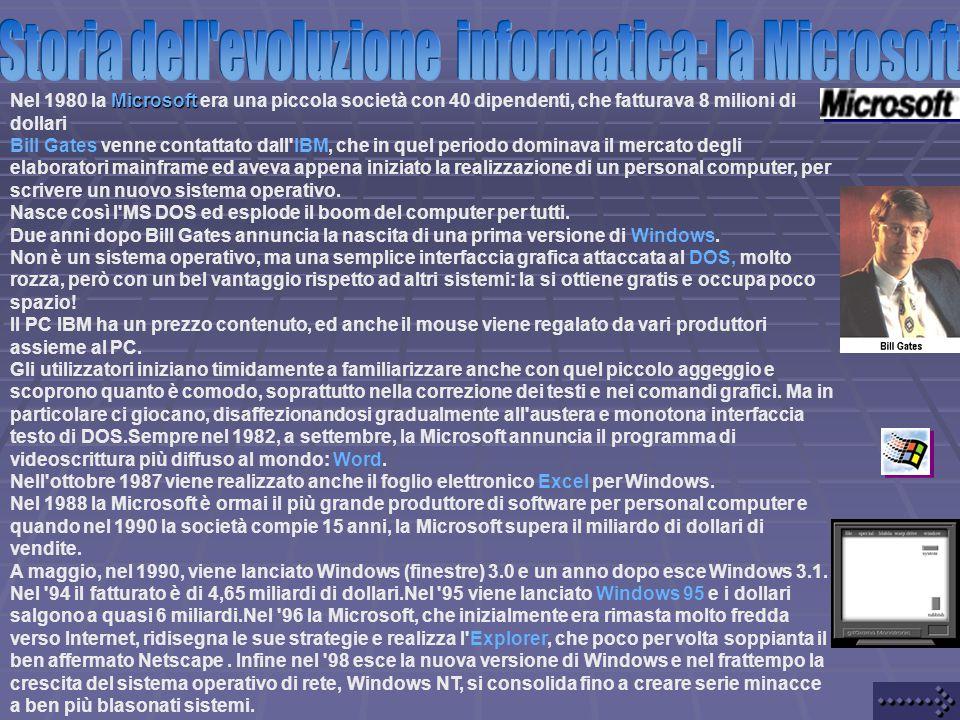 Microsoft Nel 1980 la Microsoft era una piccola società con 40 dipendenti, che fatturava 8 milioni di dollari Bill Gates venne contattato dall IBM, che in quel periodo dominava il mercato degli elaboratori mainframe ed aveva appena iniziato la realizzazione di un personal computer, per scrivere un nuovo sistema operativo.
