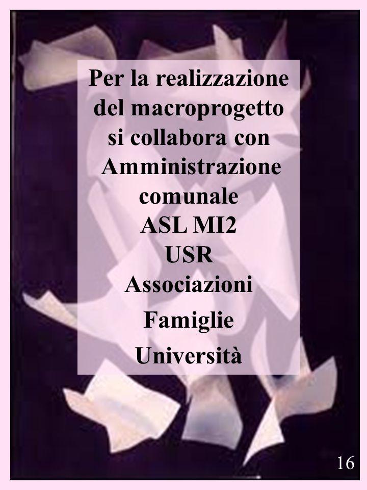 18 Per la realizzazione del macroprogetto si collabora con Amministrazione comunale ASL MI2 USR Associazioni Famiglie Università 16