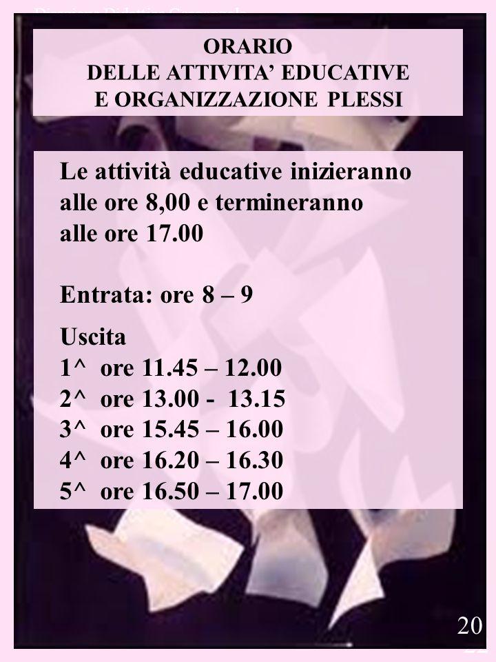 Direzione Didattica Gorgonzola 22 ORARIO DELLE ATTIVITA' EDUCATIVE E ORGANIZZAZIONE PLESSI Le attività educative inizieranno alle ore 8,00 e terminera