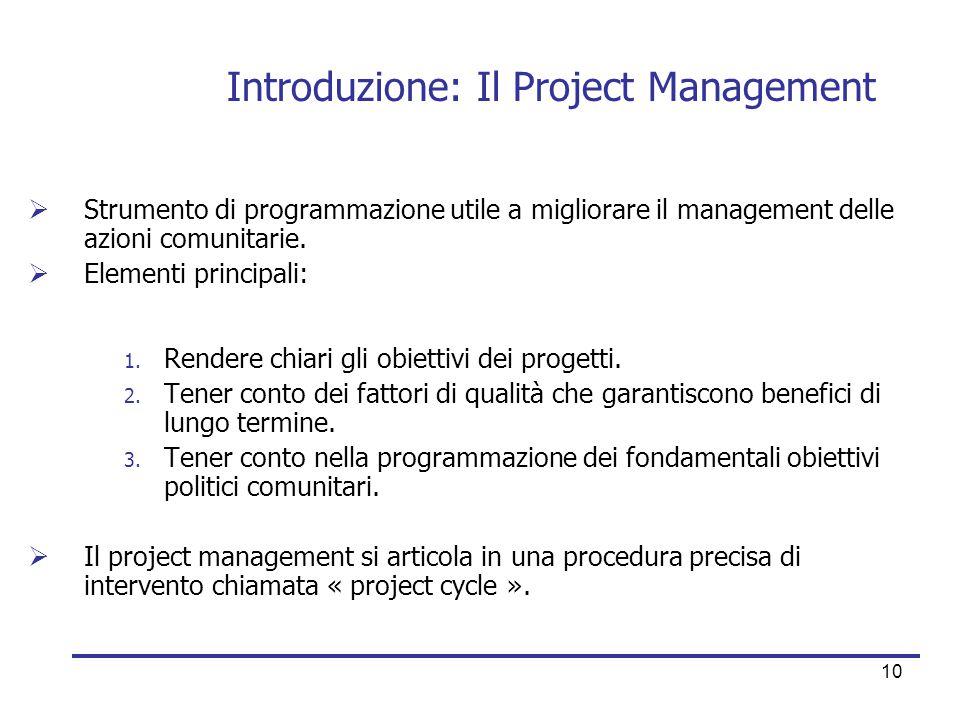 10 Introduzione: Il Project Management  Strumento di programmazione utile a migliorare il management delle azioni comunitarie.  Elementi principali: