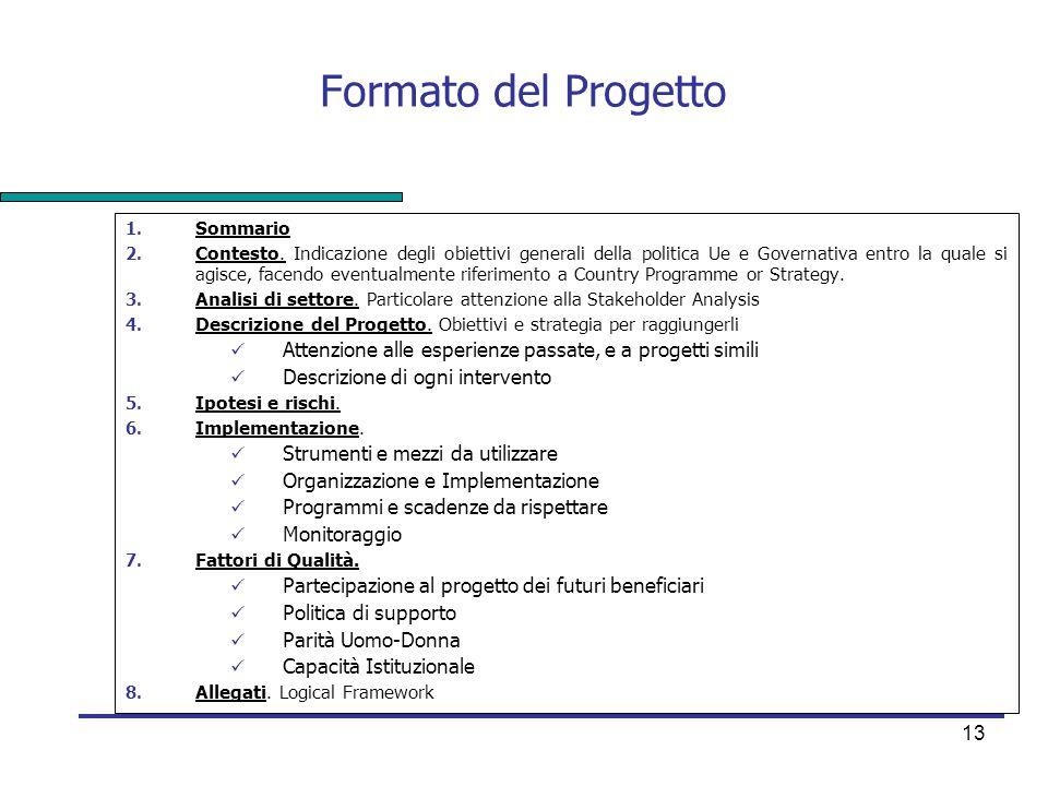 13 Formato del Progetto 1. Sommario 2. Contesto. Indicazione degli obiettivi generali della politica Ue e Governativa entro la quale si agisce, facend