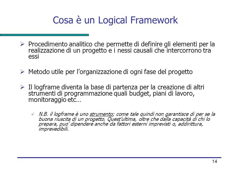 14 Cosa è un Logical Framework  Procedimento analitico che permette di definire gli elementi per la realizzazione di un progetto e i nessi causali ch
