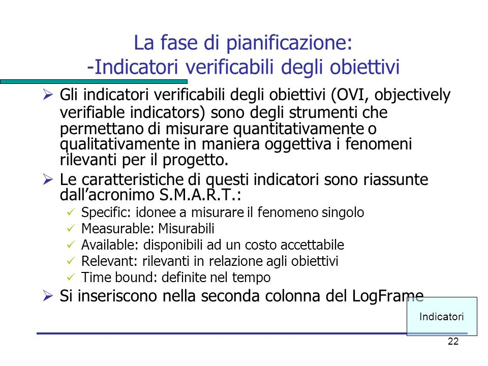 22 La fase di pianificazione: -Indicatori verificabili degli obiettivi  Gli indicatori verificabili degli obiettivi (OVI, objectively verifiable indi