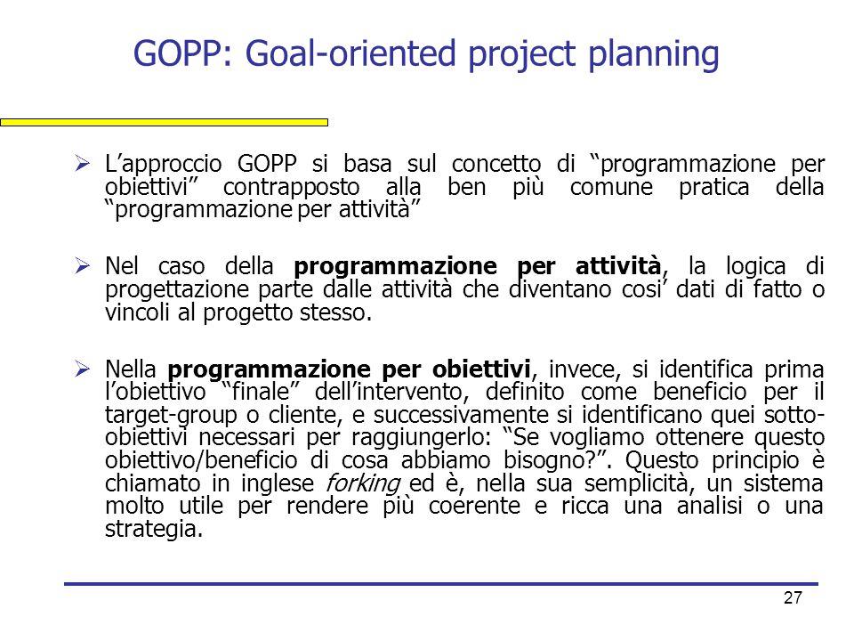 """27 GOPP: Goal-oriented project planning  L'approccio GOPP si basa sul concetto di """"programmazione per obiettivi"""" contrapposto alla ben più comune pra"""