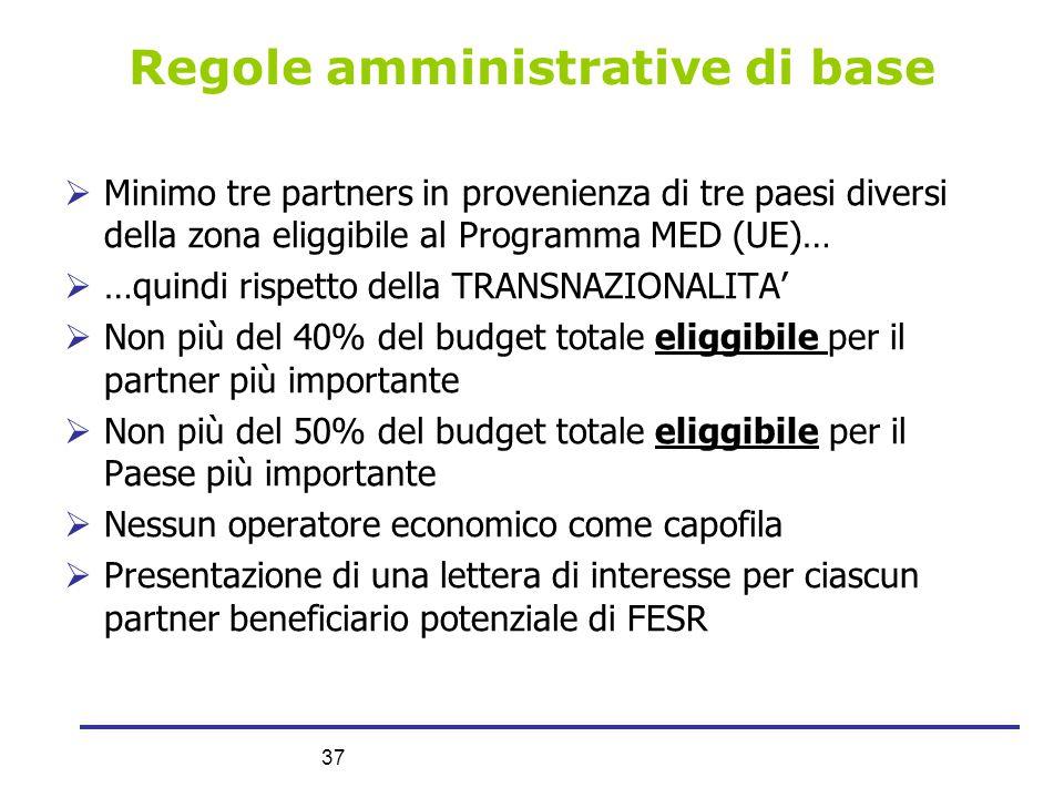 37 Regole amministrative di base  Minimo tre partners in provenienza di tre paesi diversi della zona eliggibile al Programma MED (UE)…  …quindi risp