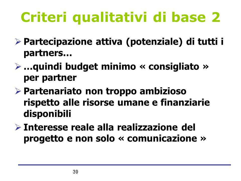 39 Criteri qualitativi di base 2  Partecipazione attiva (potenziale) di tutti i partners…  …quindi budget minimo « consigliato » per partner  Parte