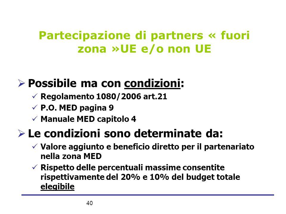 40 Partecipazione di partners « fuori zona »UE e/o non UE  Possibile ma con condizioni:  Regolamento 1080/2006 art.21  P.O. MED pagina 9  Manuale