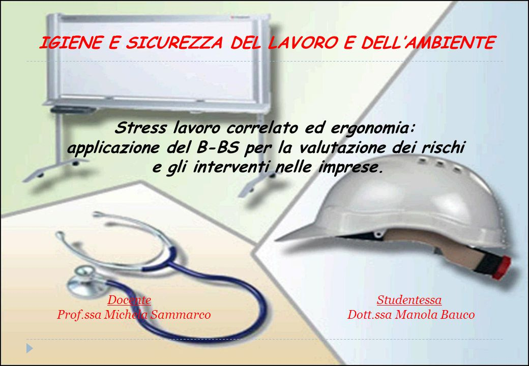 Stress lavoro correlato ed ergonomia: applicazione del B-BS per la valutazione dei rischi e gli interventi nelle imprese.