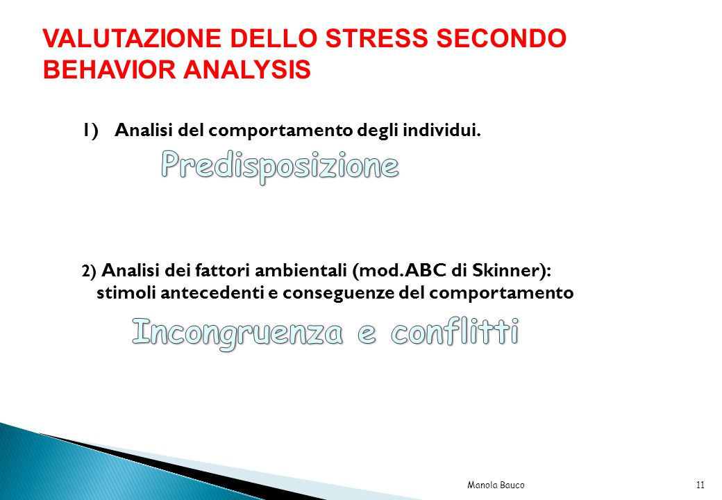VALUTAZIONE DELLO STRESS SECONDO BEHAVIOR ANALYSIS 1)Analisi del comportamento degli individui.