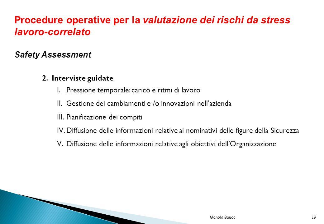 Procedure operative per la valutazione dei rischi da stress lavoro-correlato Safety Assessment 2.