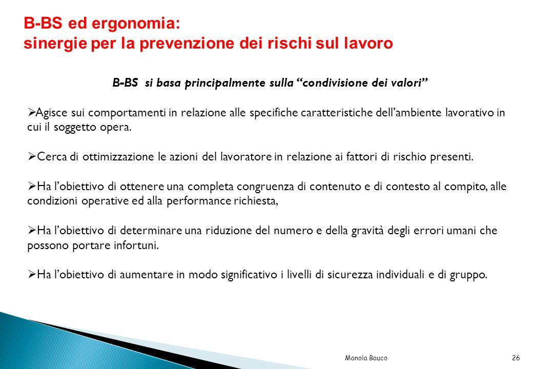 B-BS si basa principalmente sulla condivisione dei valori  Agisce sui comportamenti in relazione alle specifiche caratteristiche dell'ambiente lavorativo in cui il soggetto opera.