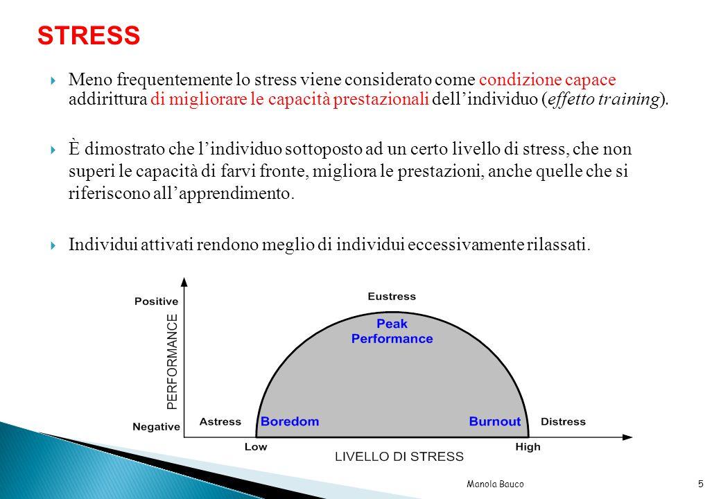 Meno frequentemente lo stress viene considerato come condizione capace addirittura di migliorare le capacità prestazionali dell'individuo (effetto training).