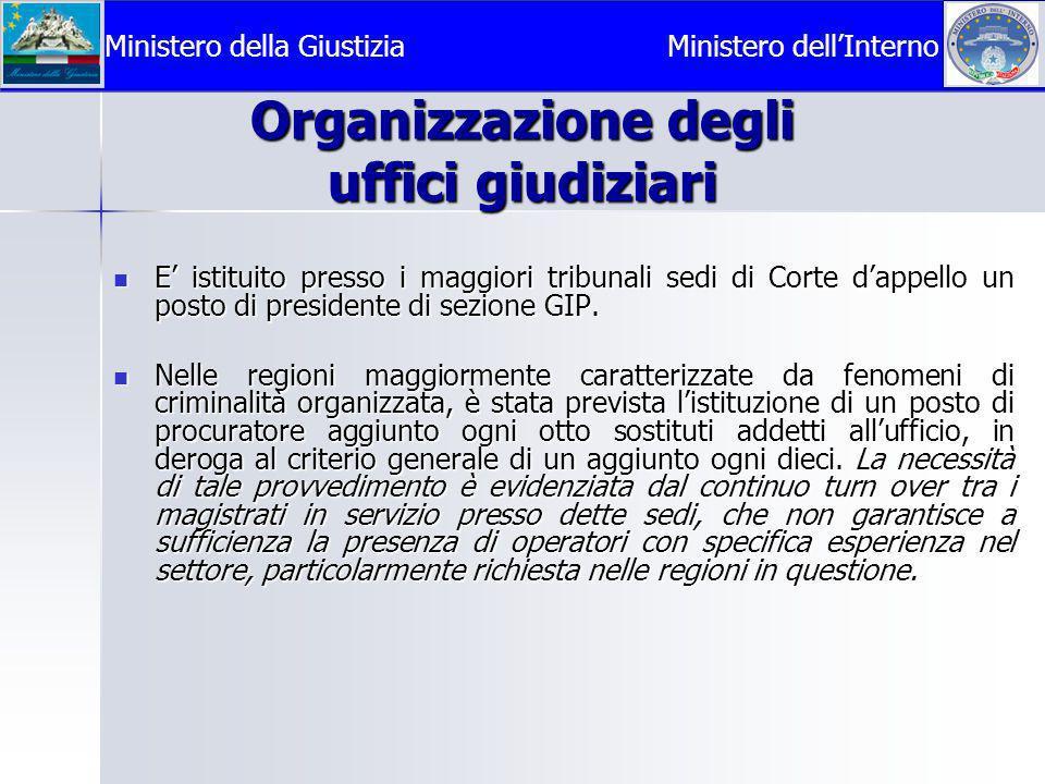 Organizzazione degli uffici giudiziari  E' istituito presso i maggiori tribunali sedi di Corte d'appello un posto di presidente di sezione GIP.