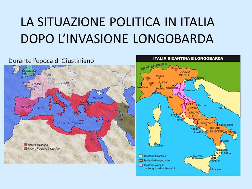 Italia divisa Longobardia Romania Italia settentrionale e Tuscia con capitale a Pavia Governata da un re Ducato di Spoleto e di Benevento Esarcato con capitale a Ravenna, Calabria, Puglia, Sicilia e Sardegna