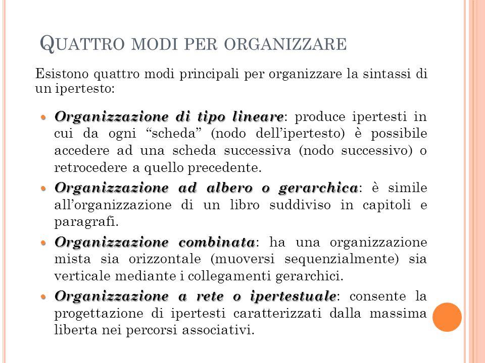 Q UATTRO MODI PER ORGANIZZARE Esistono quattro modi principali per organizzare la sintassi di un ipertesto:  Organizzazione di tipo lineare  Organiz