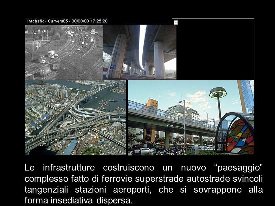 Le infrastrutture costruiscono un nuovo paesaggio complesso fatto di ferrovie superstrade autostrade svincoli tangenziali stazioni aeroporti, che si sovrappone alla forma insediativa dispersa.