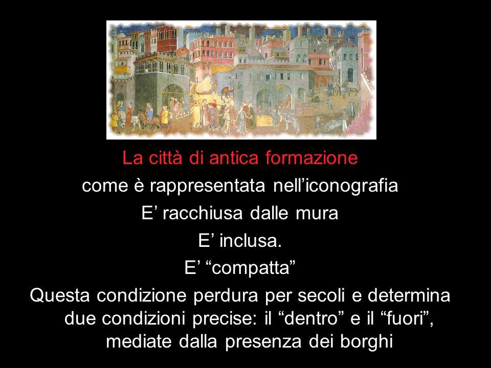 La città di antica formazione come è rappresentata nell'iconografia E' racchiusa dalle mura E' inclusa.