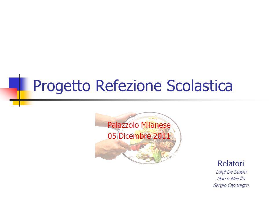Progetto Refezione Scolastica Palazzolo Milanese 05 Dicembre 2011 Relatori Luigi De Stasio Marco Maiello Sergio Caponigro