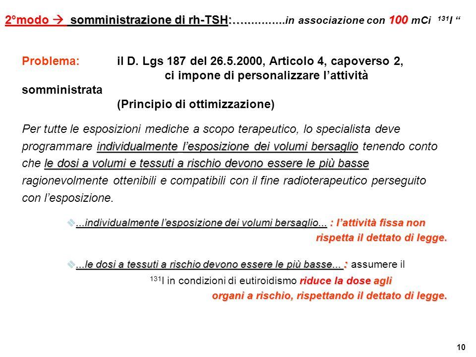 10 Problema: il D. Lgs 187 del 26.5.2000, Articolo 4, capoverso 2, ci impone di personalizzare l'attività somministrata (Principio di ottimizzazione)