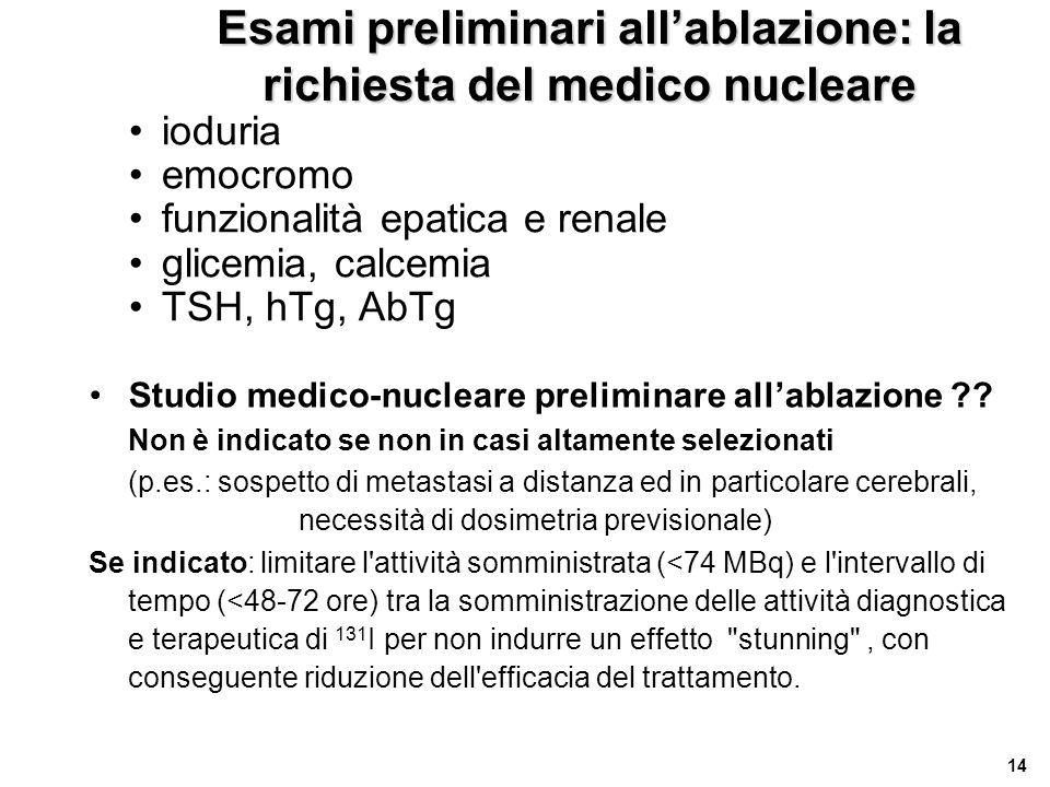 14 Esami preliminari all'ablazione: la richiesta del medico nucleare •ioduria •emocromo •funzionalità epatica e renale •glicemia, calcemia •TSH, hTg,