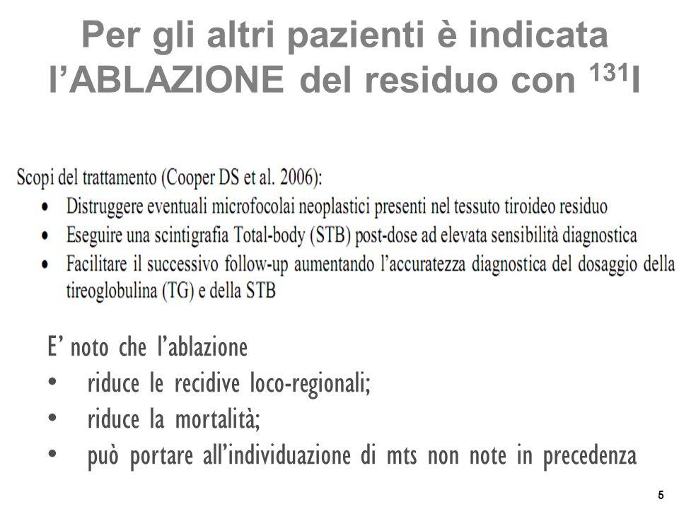 5 Per gli altri pazienti è indicata l'ABLAZIONE del residuo con 131 I E' noto che l'ablazione • riduce le recidive loco-regionali; • riduce la mortali