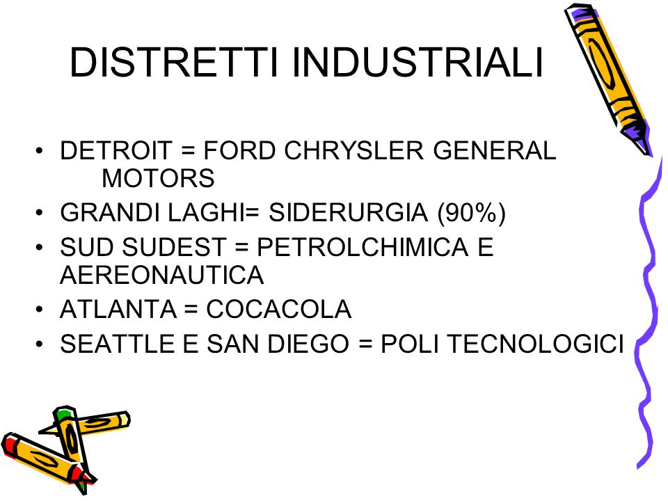 DISTRETTI INDUSTRIALI •DETROIT = FORD CHRYSLER GENERAL MOTORS •GRANDI LAGHI= SIDERURGIA (90%) •SUD SUDEST = PETROLCHIMICA E AEREONAUTICA •ATLANTA = CO