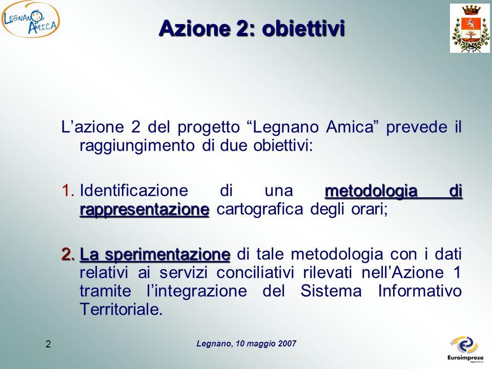 Legnano, 10 maggio 2007 2 Azione 2: obiettivi L'azione 2 del progetto Legnano Amica prevede il raggiungimento di due obiettivi: metodologia di rappresentazione 1.Identificazione di una metodologia di rappresentazione cartografica degli orari; 2.La sperimentazione 2.La sperimentazione di tale metodologia con i dati relativi ai servizi conciliativi rilevati nell'Azione 1 tramite l'integrazione del Sistema Informativo Territoriale.