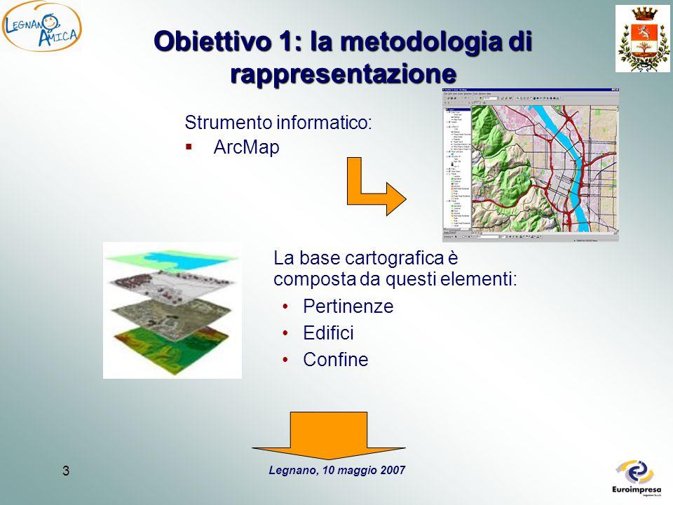 Legnano, 10 maggio 2007 3 Obiettivo 1: la metodologia di rappresentazione Strumento informatico:  ArcMap La base cartografica è composta da questi el
