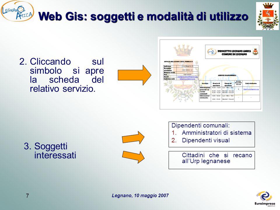 Legnano, 10 maggio 2007 7 Web Gis: soggetti e modalità di utilizzo 2.Cliccando sul simbolo si apre la scheda del relativo servizio. 3.Soggetti interes