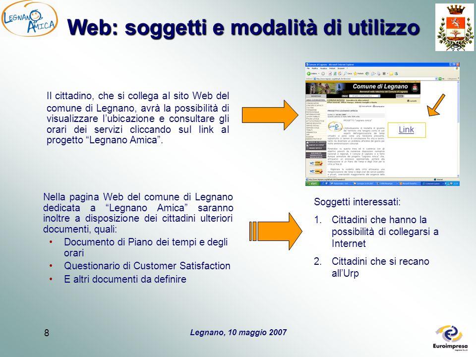 Legnano, 10 maggio 2007 8 Web: soggetti e modalità di utilizzo Il cittadino, che si collega al sito Web del comune di Legnano, avrà la possibilità di