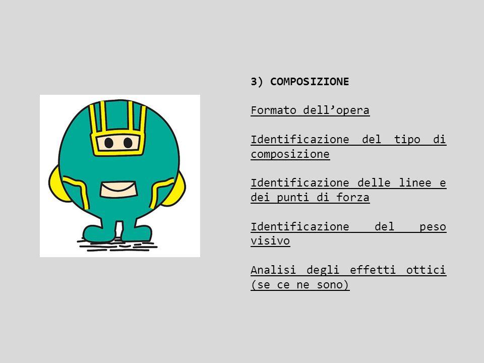 3) COMPOSIZIONE Formato dell'opera Identificazione del tipo di composizione Identificazione delle linee e dei punti di forza Identificazione del peso
