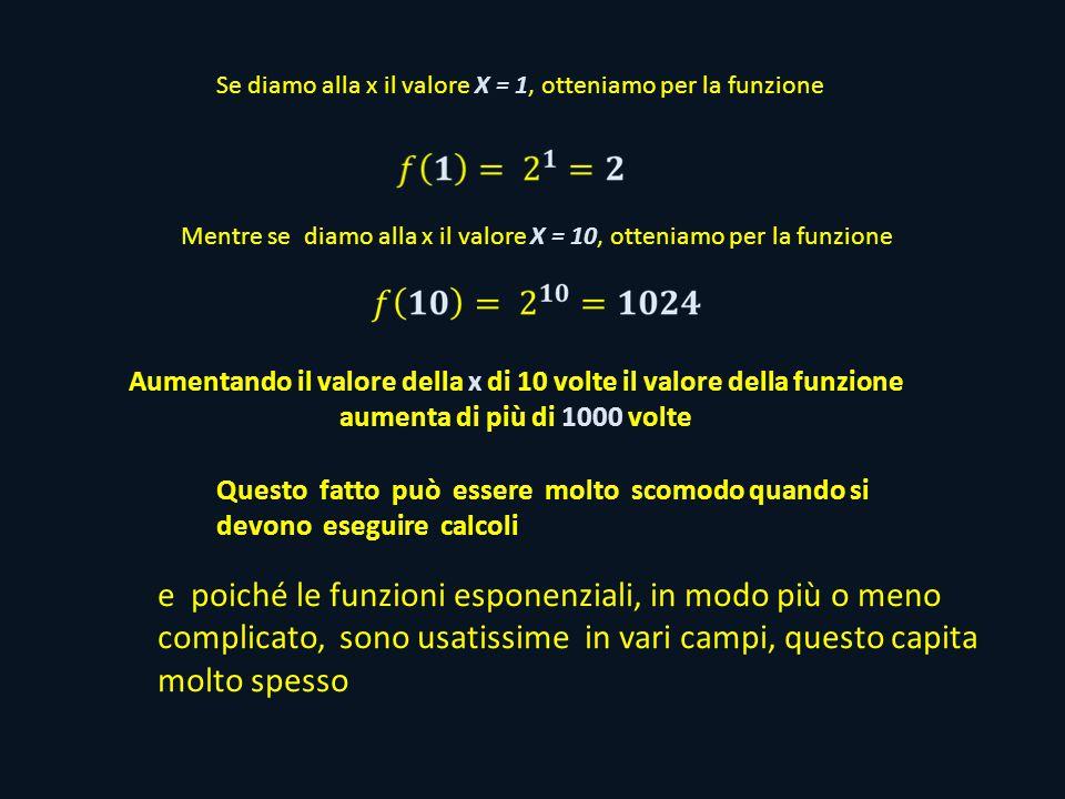 Se diamo alla x il valore X = 1, otteniamo per la funzione Mentre se diamo alla x il valore X = 10, otteniamo per la funzione Aumentando il valore della x di 10 volte il valore della funzione aumenta di più di 1000 volte Questo fatto può essere molto scomodo quando si devono eseguire calcoli e poiché le funzioni esponenziali, in modo più o meno complicato, sono usatissime in vari campi, questo capita molto spesso