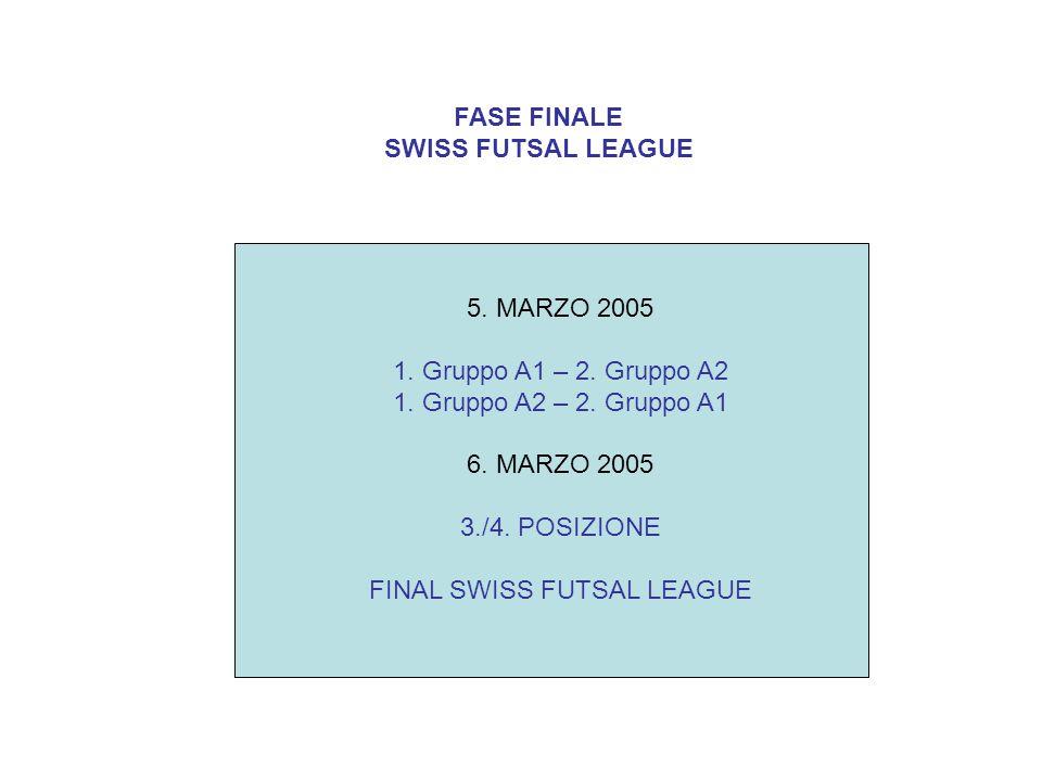 FASE FINALE SWISS FUTSAL LEAGUE 5. MARZO 2005 1. Gruppo A1 – 2. Gruppo A2 1. Gruppo A2 – 2. Gruppo A1 6. MARZO 2005 3./4. POSIZIONE FINAL SWISS FUTSAL