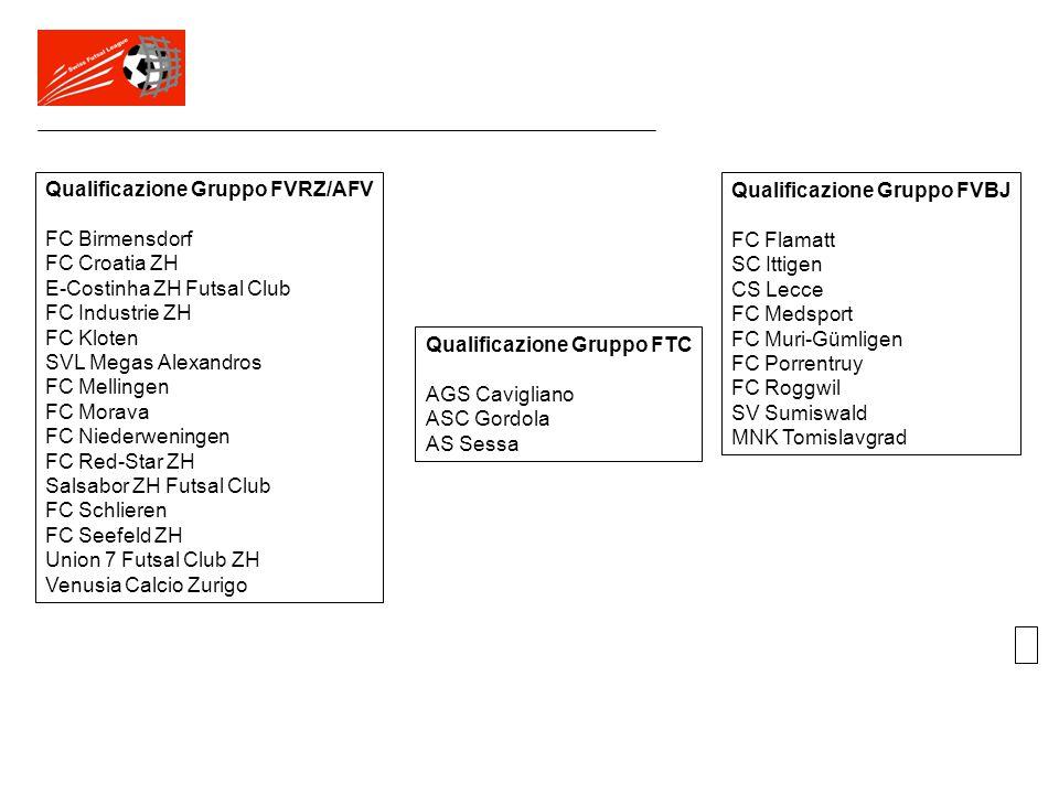 Qualificazione Gruppo FVRZ/AFV FC Birmensdorf FC Croatia ZH E-Costinha ZH Futsal Club FC Industrie ZH FC Kloten SVL Megas Alexandros FC Mellingen FC M