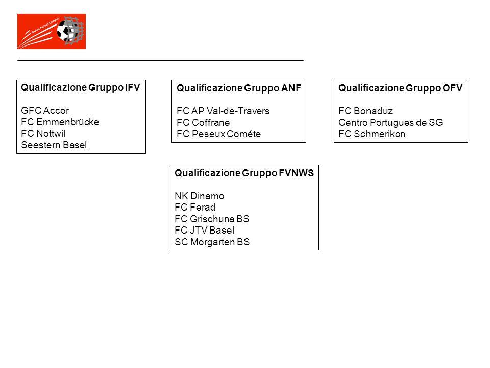 Qualificazione Gruppo IFV GFC Accor FC Emmenbrücke FC Nottwil Seestern Basel Qualificazione Gruppo ANF FC AP Val-de-Travers FC Coffrane FC Peseux Comé
