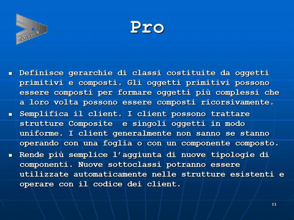 11 Pro  Definisce gerarchie di classi costituite da oggetti primitivi e composti.