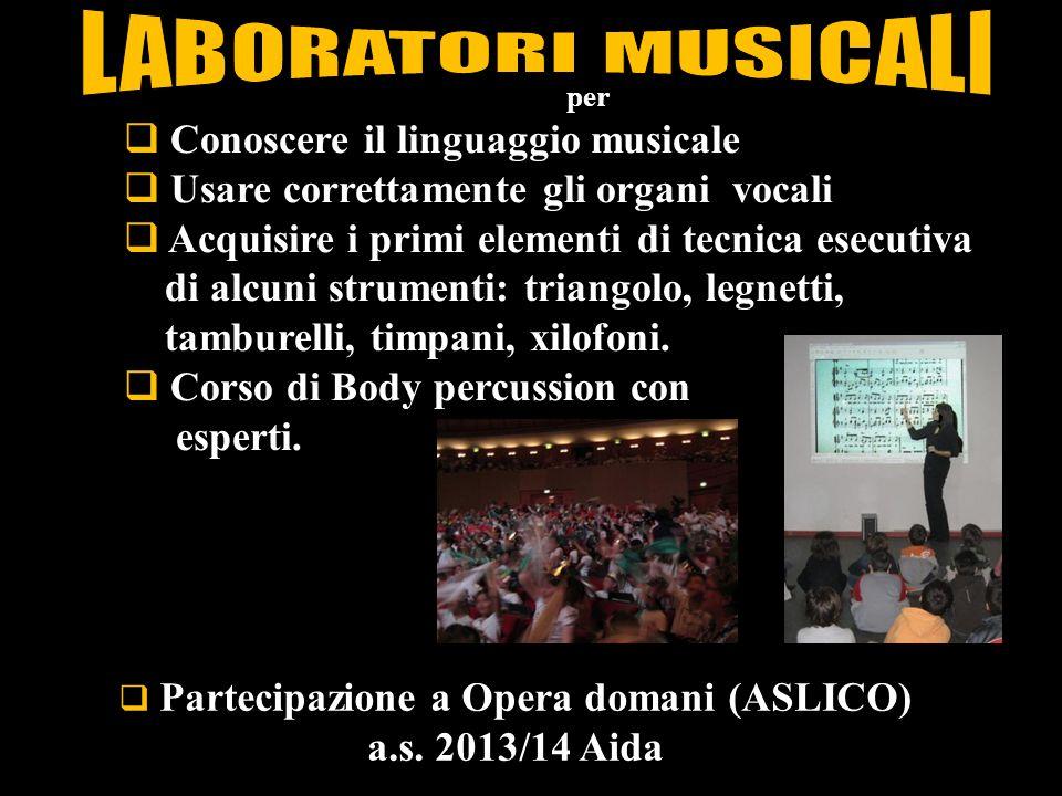  Partecipazione a Opera domani (ASLICO) a.s. 2013/14 Aida per  Conoscere il linguaggio musicale  Usare correttamente gli organi vocali  Acquisire