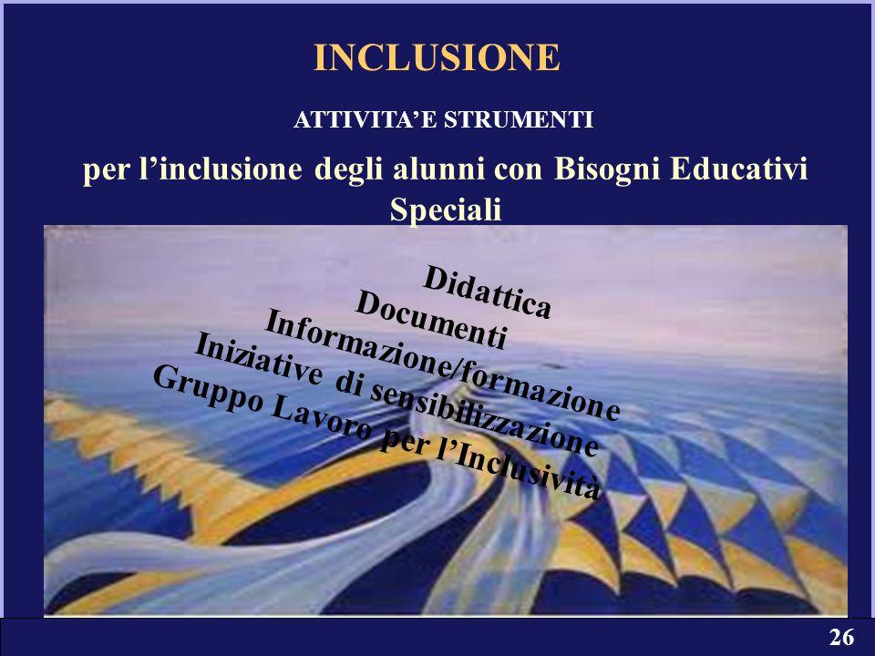 23 Didattica Documenti Informazione/formazione Iniziative di sensibilizzazione Gruppo Lavoro per l'Inclusività per l'inclusione degli alunni con Bisog