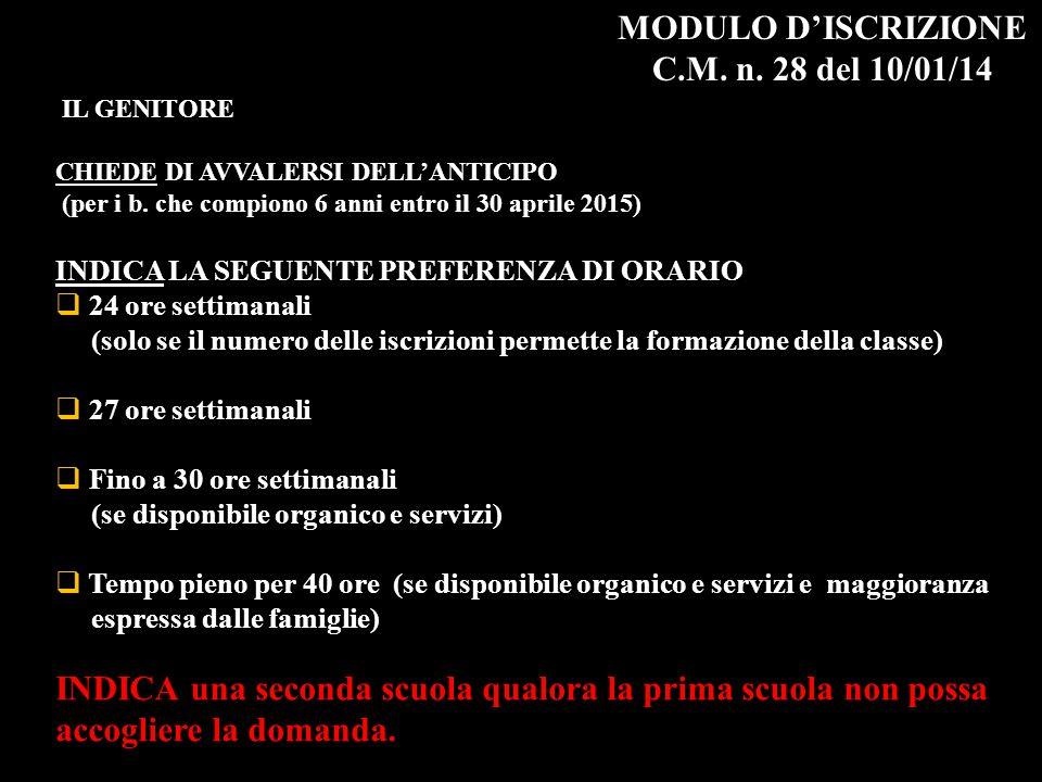 MODULO D'ISCRIZIONE C.M. n. 28 del 10/01/14 IL GENITORE CHIEDE DI AVVALERSI DELL'ANTICIPO (per i b. che compiono 6 anni entro il 30 aprile 2015) INDIC