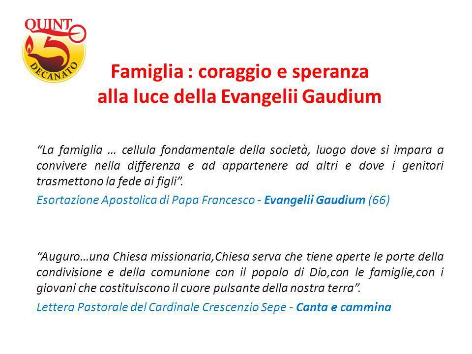 """Famiglia : coraggio e speranza alla luce della Evangelii Gaudium """"La famiglia … cellula fondamentale della società, luogo dove si impara a convivere n"""
