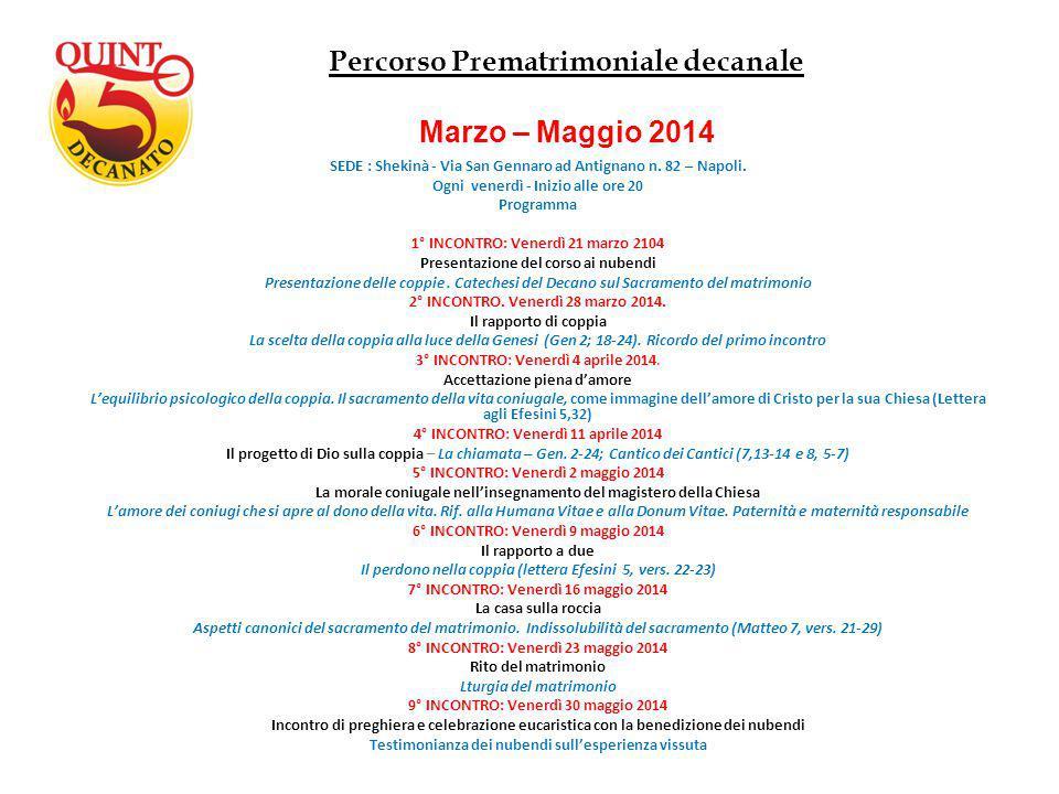 SEDE : Shekinà - Via San Gennaro ad Antignano n. 82 – Napoli. Ogni venerdì - Inizio alle ore 20 Programma 1° INCONTRO: Venerdì 21 marzo 2104 Presentaz