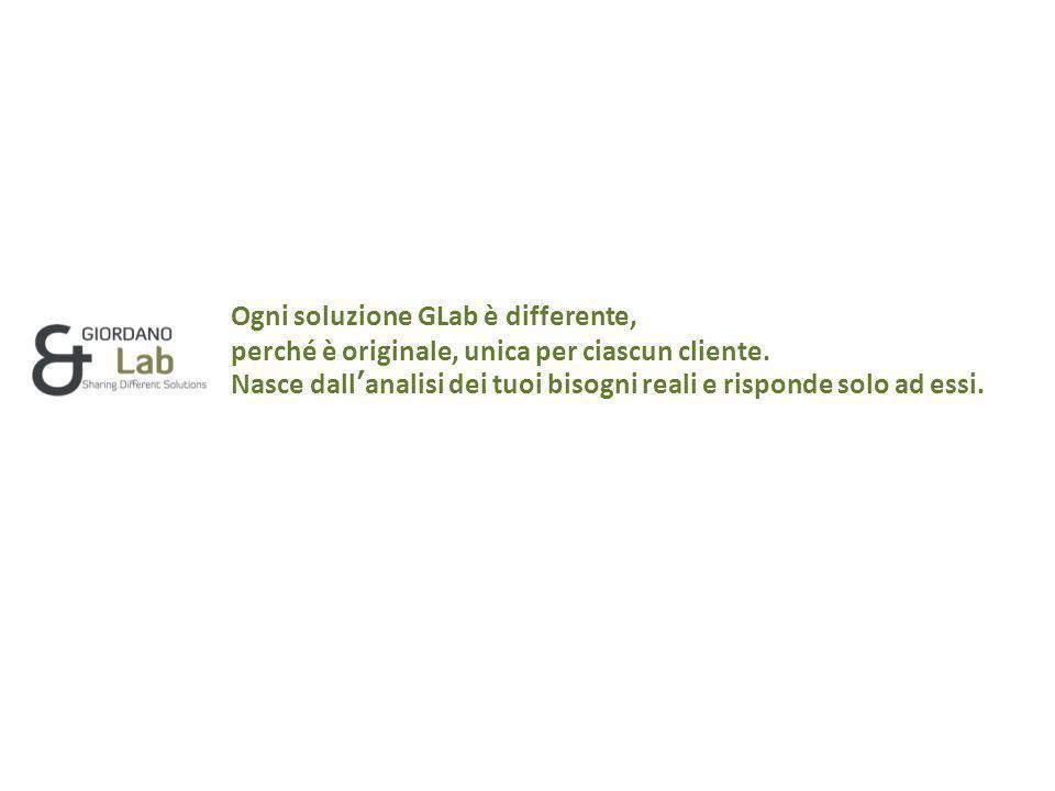 Ogni soluzione GLab è differente, perché è originale, unica per ciascun cliente.