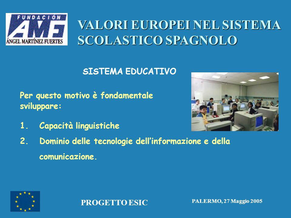 VALORI EUROPEI NEL SISTEMA SCOLASTICO SPAGNOLO PALERMO, 27 Maggio 2005 PROGETTO ESIC SISTEMA EDUCATIVO Per questo motivo è fondamentale sviluppare: 1.