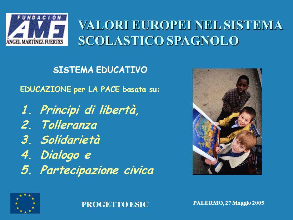 VALORI EUROPEI NEL SISTEMA SCOLASTICO SPAGNOLO PALERMO, 27 Maggio 2005 PROGETTO ESIC SISTEMA EDUCATIVO EDUCAZIONE per LA PACE basata su: 1.