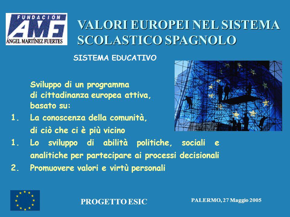 VALORI EUROPEI NEL SISTEMA SCOLASTICO SPAGNOLO PALERMO, 27 Maggio 2005 PROGETTO ESIC SISTEMA EDUCATIVO Sviluppo di un programma di cittadinanza europea attiva, basato su: 1.
